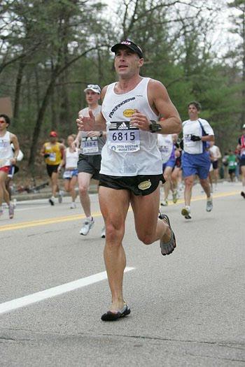 Barefoot Ted running the 2006 Boston Marathon
