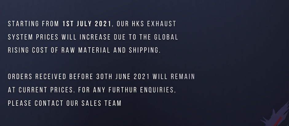 Exhaust price increase from 1st July 2021