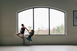 Young ballerina and sister