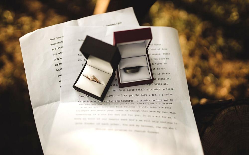 wedding vows, wedding rings, engagement ring