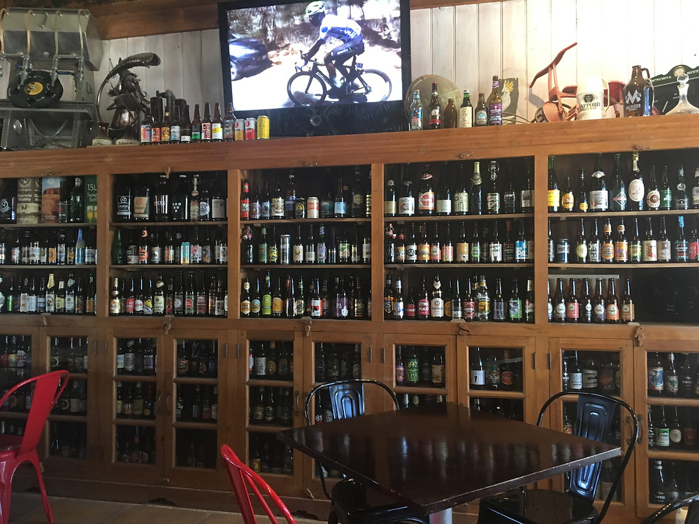 The live race coverage inside the brewery