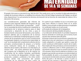 Ley extiende duración de licencia de maternidad de 14 a 18 semanas