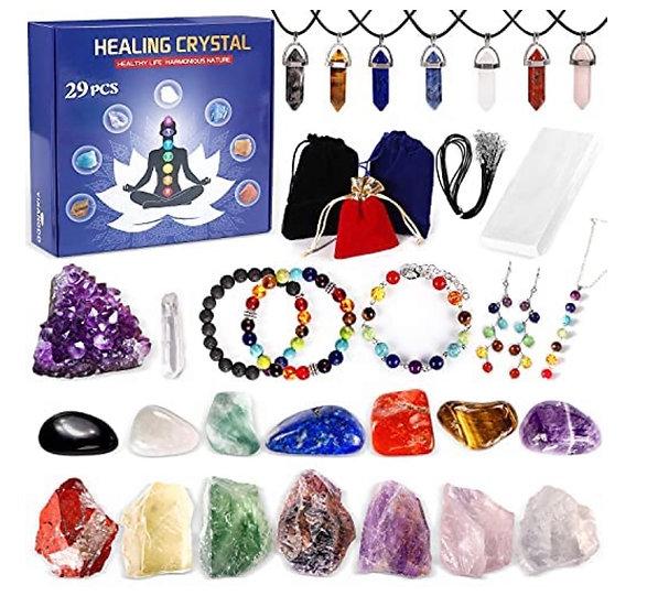 29PCS Healing Crystals Set Include 7 Chakra Stones, 7 Tumbled Stones, 7 Stone Ne