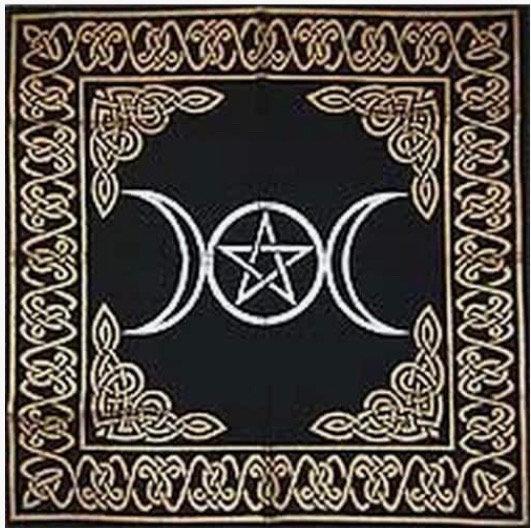 "Altar Tarot Cloth: Triple Goddess With Pentagram - 24"" x 24"" (Gold/Silver on Bla"