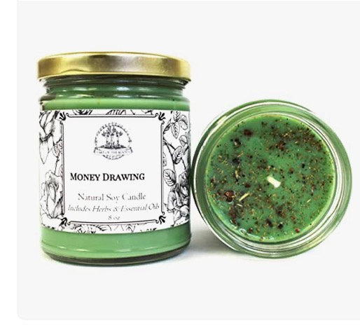 Money Drawing 8 oz Soy Spell Candle for Wealth, Financial Security, Prosperity &