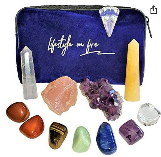 Crystals & Chakra Stones Set - 11 Piece Set with Crystals and Healing Stones