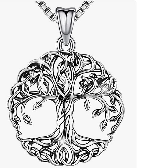 Aniu Tree of Life Necklace, Celtic Family Tree Pendant for Women, Sterling Silve