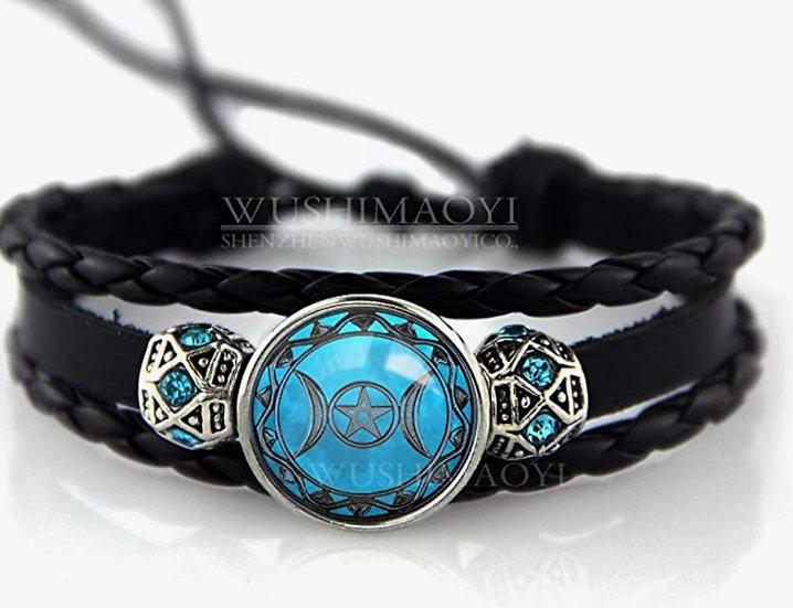 Triple Moon Goddess Bracelet Triple Moon Goddess Jewelry Braid Leather Bracelet