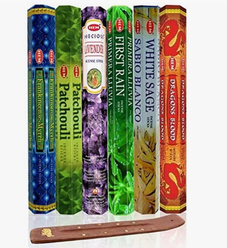 Six Most Popular Hem Incense Scents of All Time, 120 Sticks Total, with Free Bur