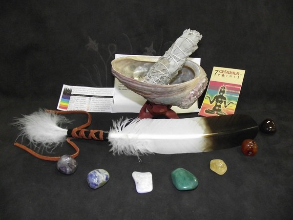 COMPLET SAGE SMUDGE KIT WITH STAND AND ABALONE SHELL SAGE ENERGY FEATHER