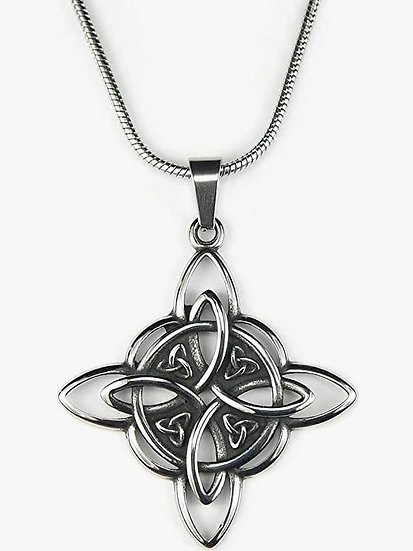 """Witches Knot Necklace, with 18"""" Snake chain, Witch's Star the Magic Knot Wiccan"""