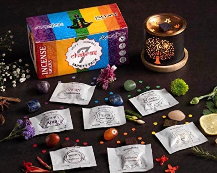 7 Chakra Incense Bricks Starter Kit containing Tree of Life Exotic Incense Diff