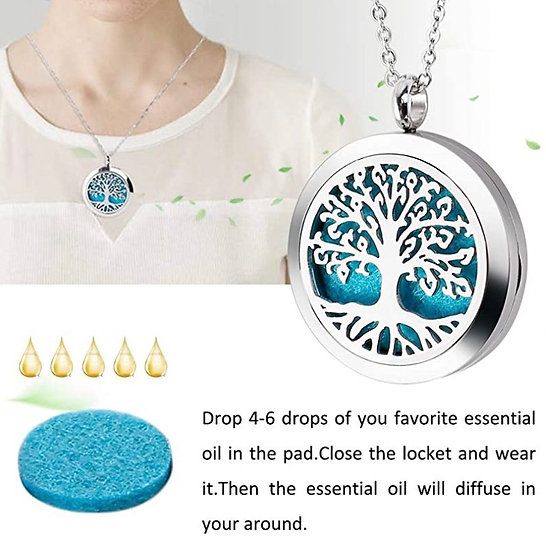 Essential Oil Necklace Diffuser Necklace Stainless Steel Not Fade Gift Set for W
