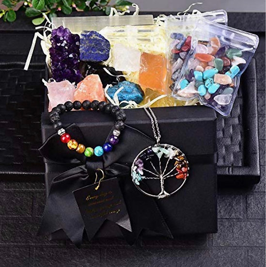 Healing Stone and Crystal Set   Seven chakra stones: citrine, rose quartz, quart