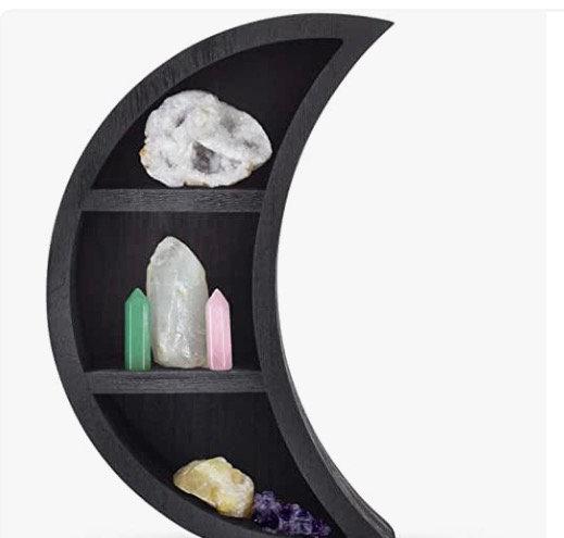 Serch-Merch Reversible Crescent Moon Shelf - Wooden Crystal Shelf Moon Wall Deco