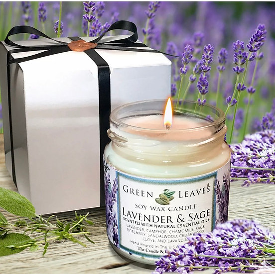 Sage and rosemary candle