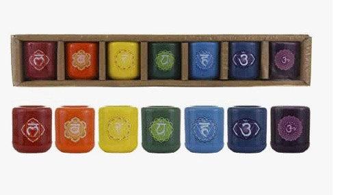 Mega Candles 7 pcs Ceramic 1/2 Inch Diameter Chakra Chime Ritual Spirtual Energy