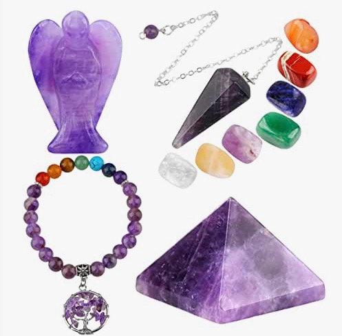 mookaitedecor Amethyst Healing Crystals Set, 7 Chakra Bracelet, Palm Stones, Pen