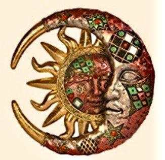 Red Cracked Mosaic Crescent Moon & Sun Wall  Decoration