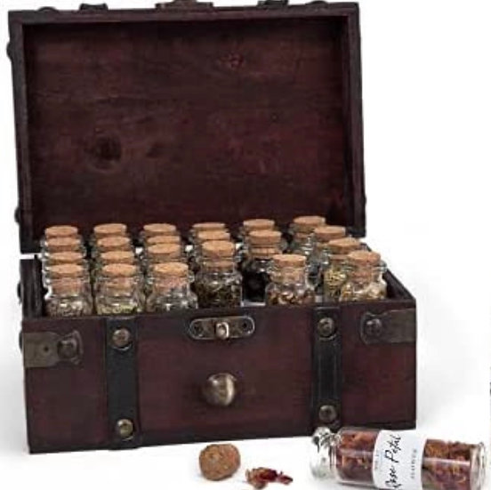 Dried Herbs for Witchcraft - 24 Bottles of Magical Herbal Supplies for Pagan, Wi