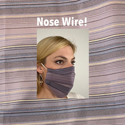 Lavender metallic striped cotton Face Mask washable reusable with nose wire