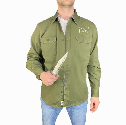 Dean Shirt Green Button Down with Embroidery