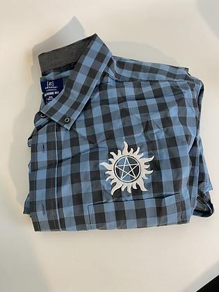 Blue supernatural plaid shirt 3XL