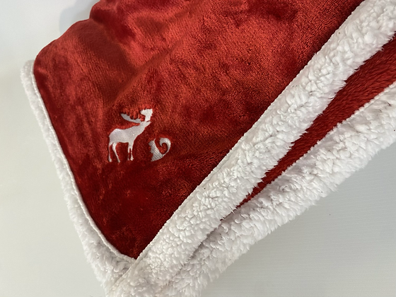 Supernatural red Sherpa edged  moose and squirrel blanket