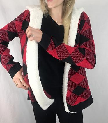 Sherpa Hooded Cardigan Plaid Custom Design
