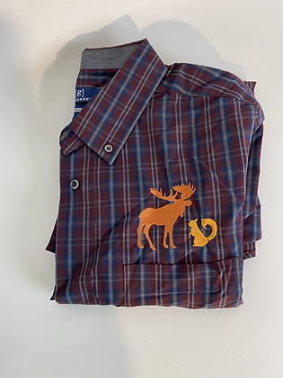 Moose and squirrel plaid shirt large