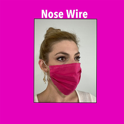 Pink Fuscia cotton Face Mask washable reusable with nose wire