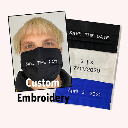 Save the Date Embroidered Custom Face Mask Washable Reusable