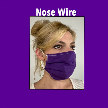Purple cotton Face Mask washable reusable with nose wire