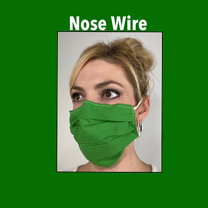 Green cotton Face Mask washable reusable with nose wire