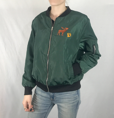 c947e98f881 Green Custom Embroidered Design Members only Bomber Jacket Green Moose  Squirrel