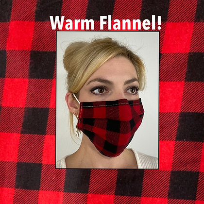Red and black plaid flannel Face Mask washable reusable with nose wire
