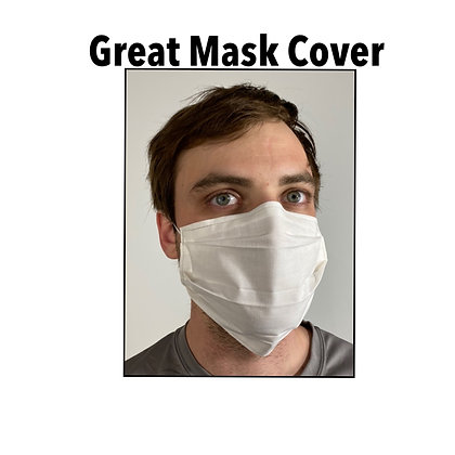 White cotton Face Mask washable reusable with nose wire