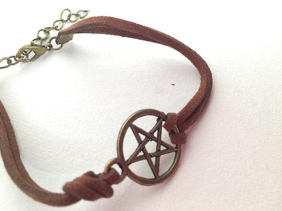 Leather Pentagram Bracelet