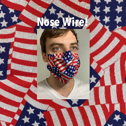 American Flag metallic cotton Face Mask washable reusable with nose wire