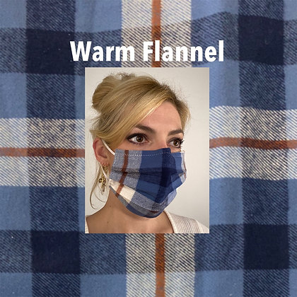 Blue white plaid flannel cotton Face Mask washable reusable with nose wire