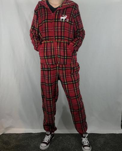 0e04269ffb8 Custom Embroidered Plaid Plus Size Fuzzy Pajama Jumpsuit Onesy Jumper  Pocket Hoo