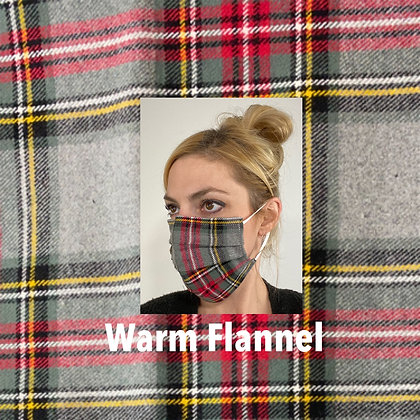Gray and red plaid flannel Face Mask washable reusable with nose wire