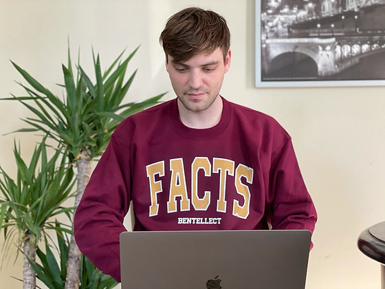 Burgundy Collegiate FACTS Bentellect Crewneck Sweatshirt