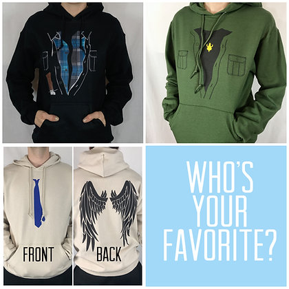 Character Inspired Hoodies Sam Dean or Cas!