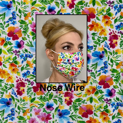 Vibrant Floral cotton Face Mask washable reusable with nose wire
