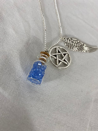 Angel Grace Necklace with Pentagram and Wing Charm