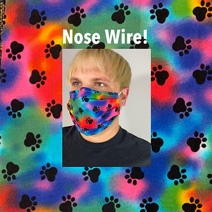 Paw Prints Rainbow Face Mask Washable Reusable