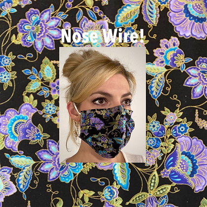 Floral cotton Face Mask washable reusable with nose wire