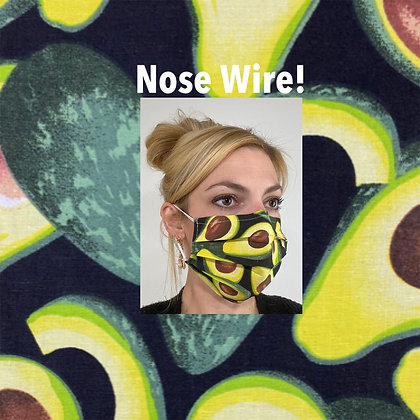 Avocados cotton Face Mask washable reusable with nose wire