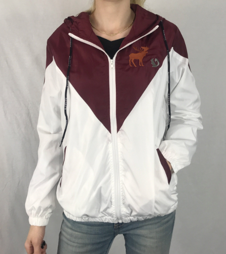 ddc8f72a3f0 Maroon Hooded Windbreaker Custom Embroidered Design Members only Bomber  Jacket M